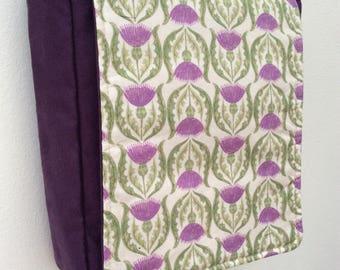 Purple thistle mini-messenger bag