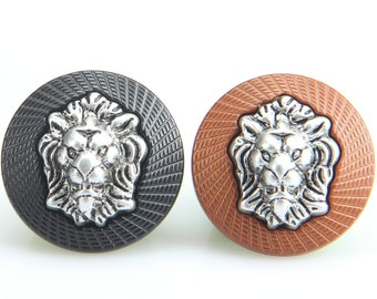 6 Pcs 0.71~0.98 Inches High-grade Retro Various Colors GoatLion Head Relief Metal Shank Buttons for Suits Coats Sweaters