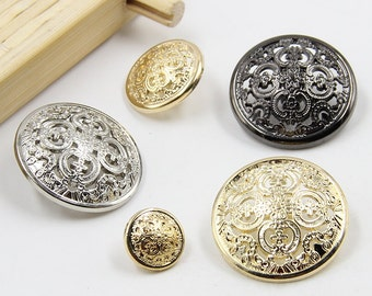 d776cffd4b3 6 Pcs 0.45~1.10 Inches Retro Silver Gold Gun Black Hollow Pattern Metal  Shank Buttons for Jackets Suits Coats