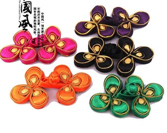 1 Pcs 3.93*2.75 Inches Retro High-grade Handmade RedBlueBlack+Gold Chinese Cheongsam Frog Buttons for Tang Suits