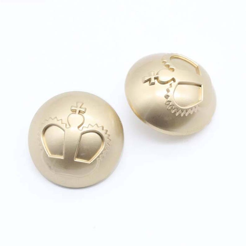 6 Pcs 0.71~0.98 Inches Fashion Matte Gold Big Crown Metal Shank Buttons for Coats Sweaters