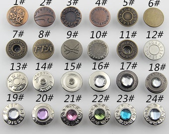6 Pcs 0.67 Inches High-grade Bronze/Silver Snap Fastener Letters Copper Metal Shank Buttons For Jeans Jackets