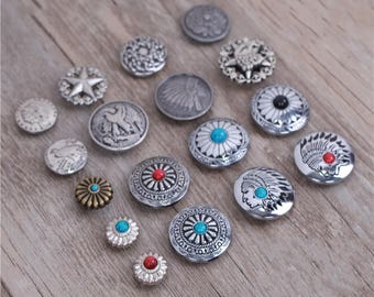 4 Pcs 0.71~1.18 Inches Retro DIY Anti-Silver Patterns Rivets Snaps Metal Shank Buttons For Belts Bags Wallets