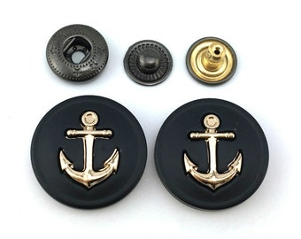6 Pcs 0.98 Inches Black Anchor Snap Fastener Metal Shank Buttons For Coats Jackets Sweaters