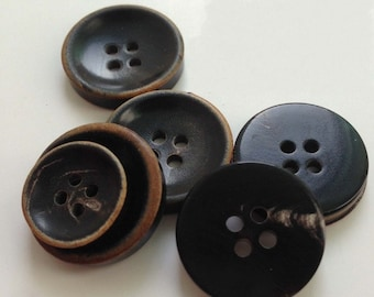 6 Pcs 0.59~0.79 Inches Natural Black 4 Holes Ox Horn Shell Buttons For Suits
