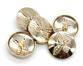 6 Pcs 0.98 Inches Fashion Gold Butterfly Rhinestones Metal Shank Buttons For Suits Coats