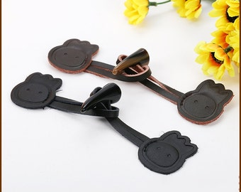 4 Pcs 6.30 Inches High-grade Black/Dark Brown Leather Horn Hook and Eye Buttons For Kids Coats