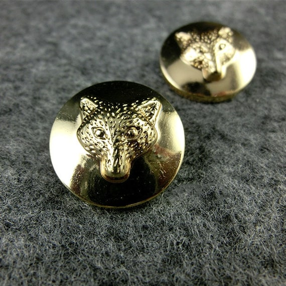 Gold, 1.06 inches Fashion Lion Head Metal Shank Buttons for Coats Gold//Silver,Pack of 6