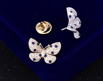 2 Pcs 0.83*0.71 Inches Fashion Gold/Silver Butterfly Zircon Metal Shank Buttons For Brooches