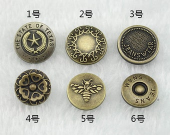 10 Pcs 0.67~0.79 Inches Bronze/Silver/Gun Snap Fastener Metal Shank Buttons For Jeans Jackets