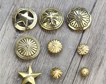 4 Pcs 0.43~1.10 Inches High-grade DIY Brass Patterns Rivets Snaps Metal Shank Buttons For Belts Bags Wallets
