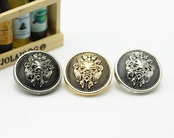 6 Pcs 0.59~0.98 Inches Retro Gold/Silver/Gun Lion Head Crown Metal Shank Buttons For Coats