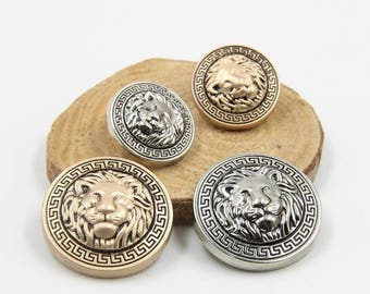 6 Pcs 0.71~0.98 Inches High-grade British Matte Gold/Silver Lion Head Metal Shank Buttons For Suits Coats