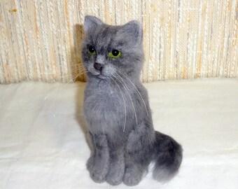 Needle Felted Gray Kitten - Wool Sculpture - OOAK