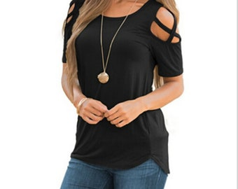 1606e2d8 Women Summer Blouse Tops Short Sleeve Solid Plus Size Sexy Cold Shoulder T  Shirt Black