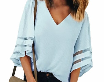 eff54869f1e0 Summer Fashion V Neck Women Casual Sexy Loose Half Sleeve Lace Blouse Tops  Shirt Light Blue