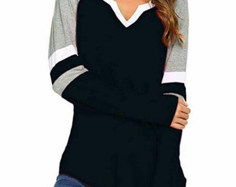30e716db8a5e6a Womens Long Sleeve V Neck Blouse Casual Loose Tunic Tops Splice T-Shirt  S-5XL Black