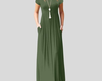46caa0986923 Army Green Womens Boho Casual Polyester Short Sleeve Evening Party Beach  Dress Long Maxi Dress