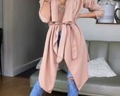 Women Slim Long Coat Jacket Windbreaker Overcoat Outwear Cardigan Pink