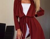 Women Slim Long Coat Jacket Windbreaker Overcoat Outwear Cardigan Wine Red