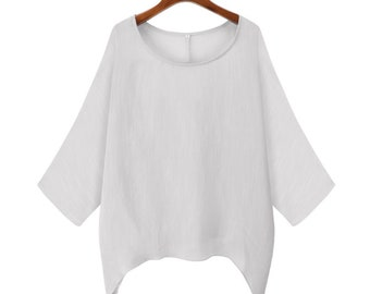 68722c0b843 Plus Size Women Batwing Sleeve Shirt Oversized Loose Jumper Tunic Tops  Blouse White