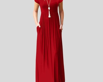 Red Womens Boho Casual Polyester Short Sleeve Evening Party Beach Dress  Long Maxi Dress 27a3debaf8ea