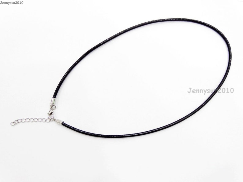 Genuine Leather Round Thong Necklace Cord Thread Silver Plated Lobster Clasp
