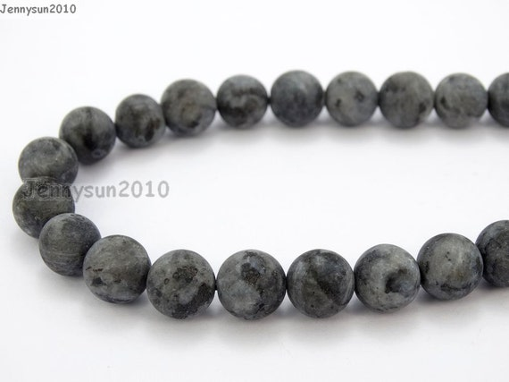 Larvikite Round Beads 8mm Grey 40 Pcs Frosted Gemstones Jewellery Making Crafts