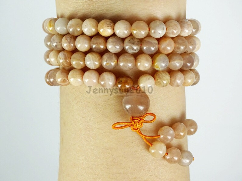 Natural 6mm Sunstone Gemstone Buddhist 108 Beads Prayer Mala Multi-Purpose Stretchy Bracelet Necklace Healing
