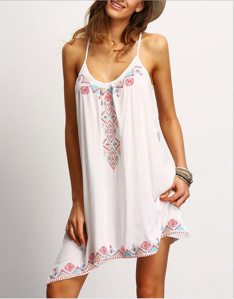 Women Boho Tribal Print Sleeveless Beach Sundress Casual Asymmetrical Mini Dress White