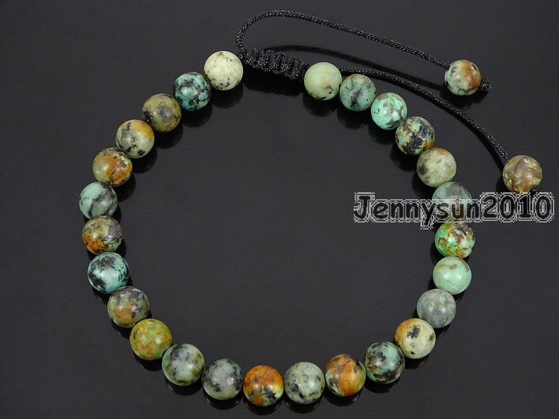 Handmade 6mm Adjustable Natural African Turquoise Gemstone Round Beads Bracelet Healing Reiki Jewelry Design and Crafts