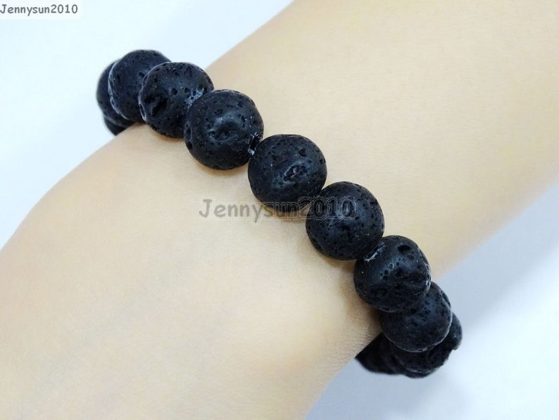 Natural Handmade Volcanic Lava Gemstone Size 6mm 8mm 10mm 12mm Round Beads Stretchy Bracelet Healing Jewelry Design and Crafts