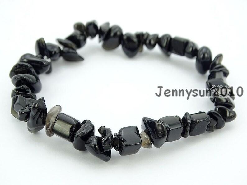 Natural Black Obsidian Gemstone 5-8mm Chip Beads Stretchy Bracelet Healing Reiki Chakra Jewelry Design and Crafts