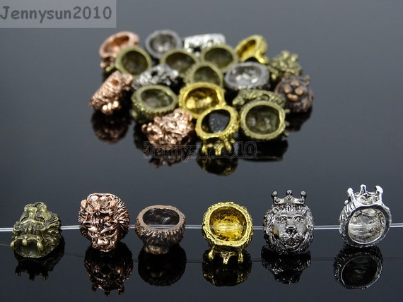 Pack of 10 Solid Metal Lion Head Bracelet Necklace Connector Charm Beads