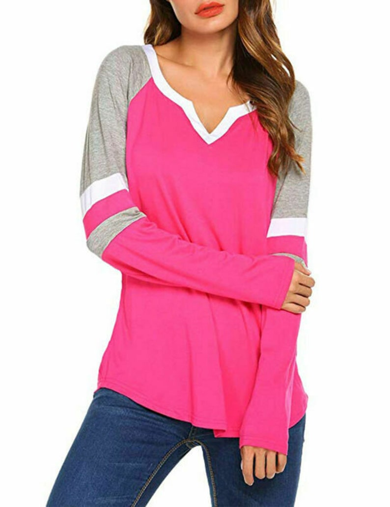 20c65df47975 Womens Long Sleeve V Neck Blouse Casual Loose Tunic Tops   Etsy