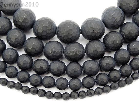 Natural Onyx Gemstone Round Beads 15.5/'/' Strand 6 8 10 12MM Matte Black