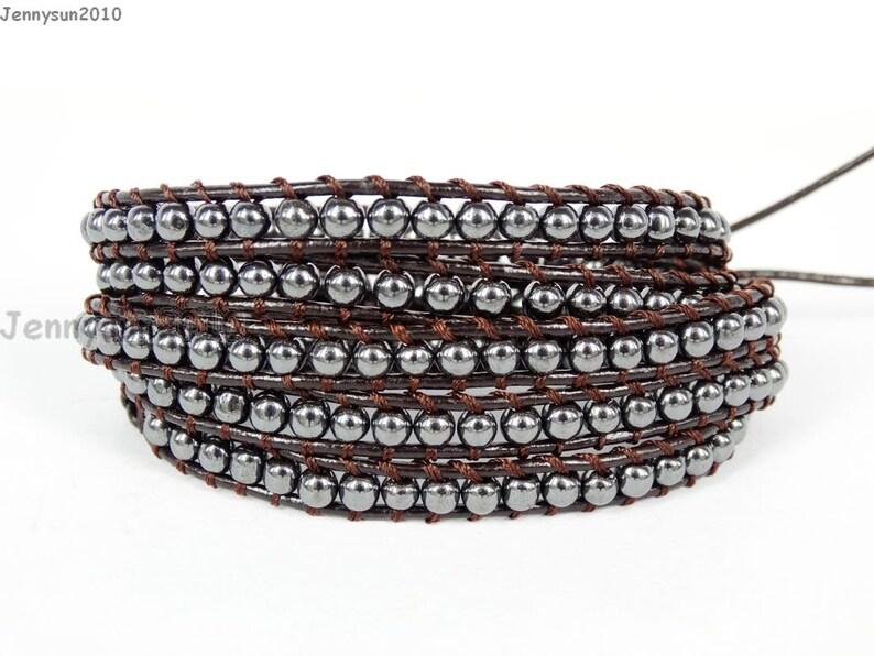 Handmade Natural 4mm Black Hematite Gemstone Smooth Round Beads Dark Brown String Leather Wrap Bracelet Silver Plated Button Closure
