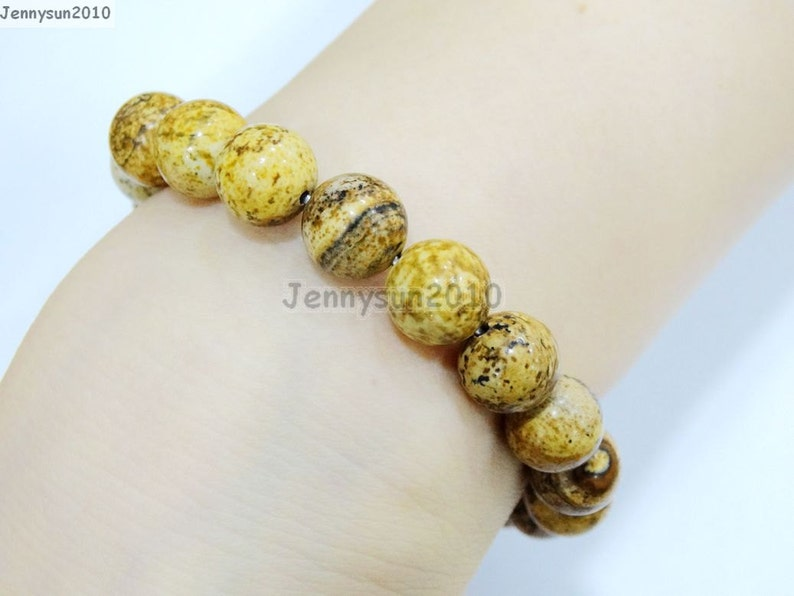 Natural Handmade Picture Jasper Gemstone Size 6mm 8mm 10mm 12mm Round Beads Stretchy Bracelet Healing Jewelry Design and Crafts