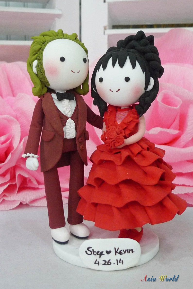 Wedding cake topper Beetlejuice and Lydia in maroon tux and image 0
