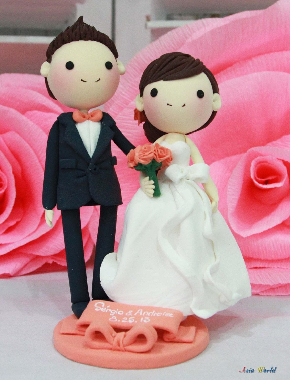 Wedding Cake topper Clay Couple in Peach wedding theme