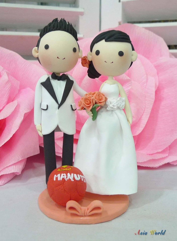 MAN UTD fan club wedding cake topper wedding clay miniature | Etsy