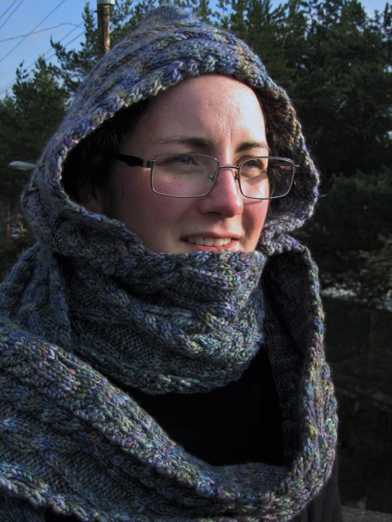 Tangled Up For Warmth Hooded Scarf Knitting Pattern Etsy