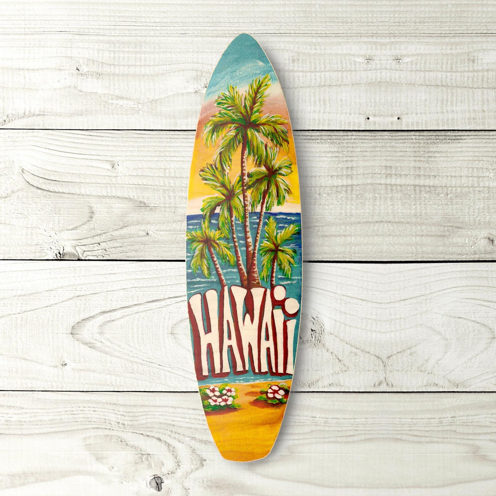 Colorful handpainted wooden surfboard artwork