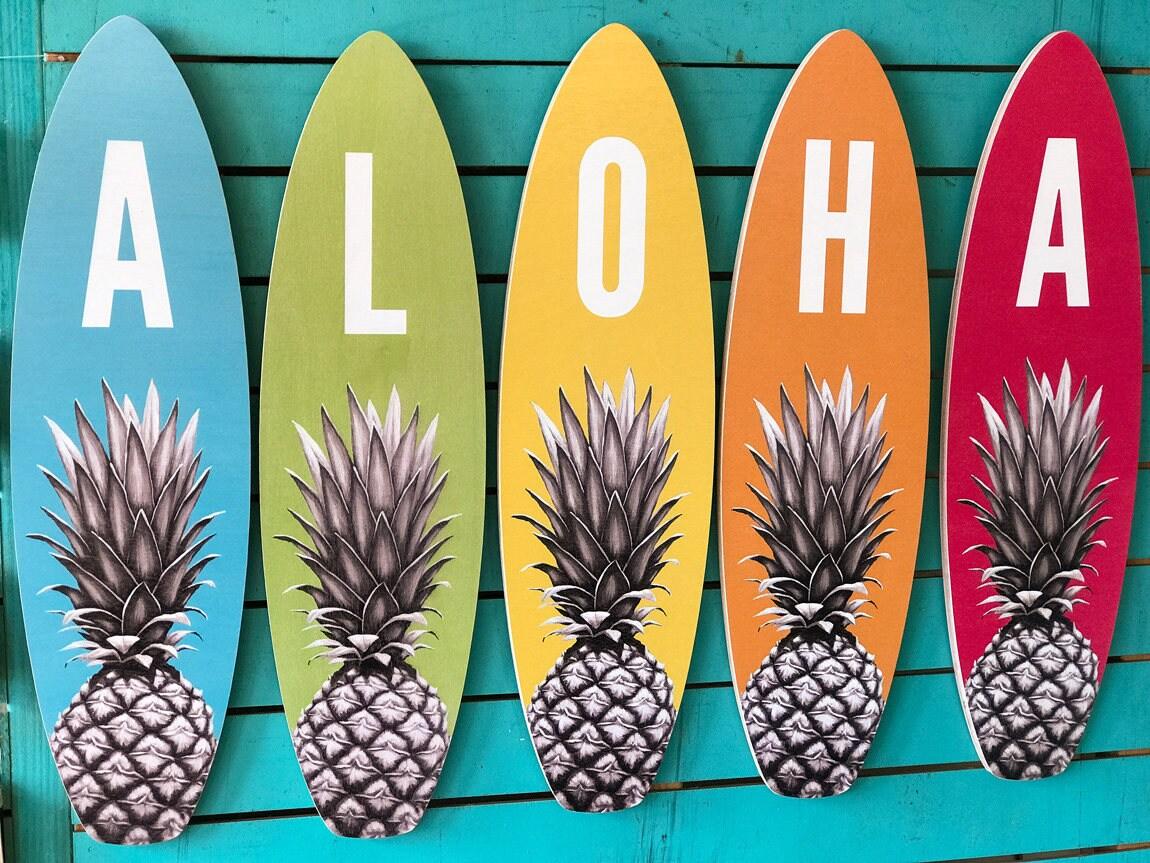 Aloha Large Surfboard Set beach tropical pineapple | Etsy