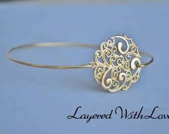 Minimalist Gold Bangle Jewelry Filigree Wire Bangle Pearl Gold Bangle Brass Pearl Bangle Set Bridesmaids Gift Ideas Casual Wear