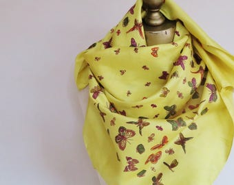 YELLOW silk scarf, Butterfly silk scarf, Designer scarves, square headscarf, signed scarf, carre, Thai silk scarf, summer square scarf,