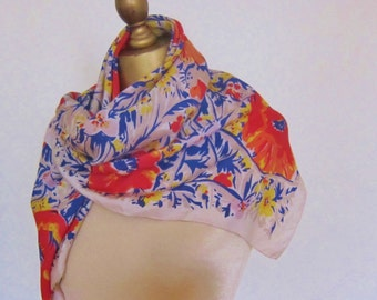 1950s  vintage SILK scarf ORIENTAL POPPIES designed by A.K. Bartholomew for Dohen
