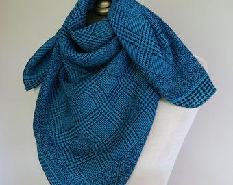 Vintage silk scarf, teal scarves, square silk scarf, houndstooth scarf, aqua foulard,  hair wrap, 80s silk square, classic silk scarf.