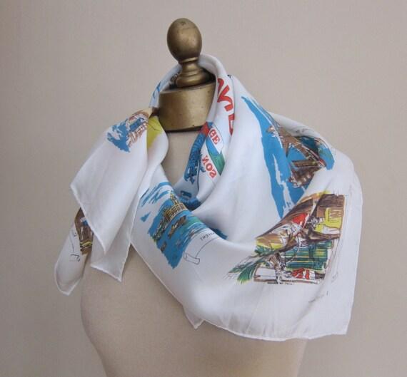 LONDON scarf 1950s, funky souvenir, British souven