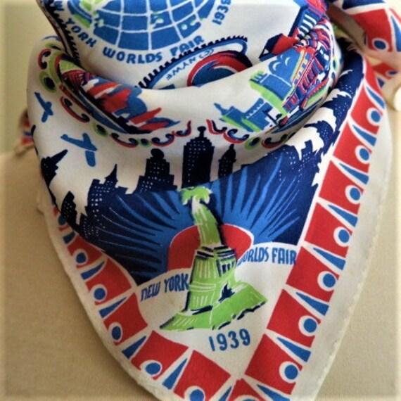 1939 WORLDS FAIR scarf, vintage neckerchief, New Y